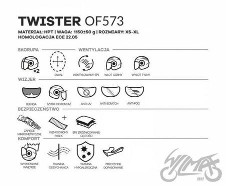 Kask otwarty LS2 OF573 TWISTER SOLID titanium
